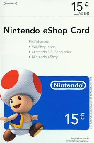 Nintendo Eshop Karte.Nintendo Eshop Card 15 Euro Als Download Online Kaufen Gamliebe